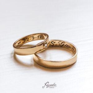 Alianzas de boda oro 18k y Brilante REF AB10-117